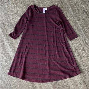 Maroon and black striped sweater dress